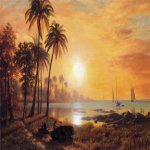 Albert Bierstadt (1830-1902)  Tropical Landscape with Fishing Boats in Bay  Oil on canvas  18 1/4 x 20 1/4 inches (46.36 x 51.44 cm)  Public collection